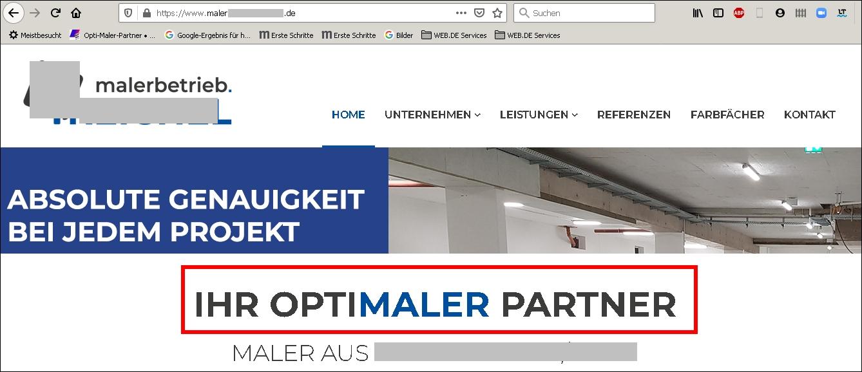 Verletzer der Wortmarke Opti-Maler-Partner